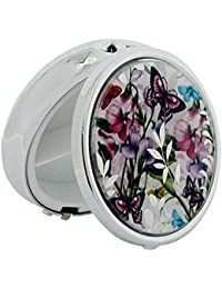 Pill Box Silver Plated Sweet Pea Butterfly Compact Travel Pill Case SC1309