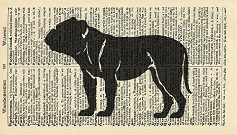 Bull Dog Art Print - Bull Dog Silhouette Art Print - Animal Art Print - Vintage Art Print - Vintage Dictionary Art Print - Dog Lover's Gift - Wildlife Wall Art - Artwork - Illustration - Wall Hanging - Book Print 791B