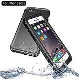 NewTsie iPhone 6 / iPhone 6s Wasserdicht Stoßfest Hülle, IP68 Zertifiziert Schutzhülle Staubdicht mit Eingebautem Displayschutzfolie für Apple iPhone 6/6s 4.7 inch (P-Schwarz)