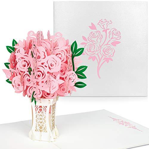 PaperCrush® Pop-Up Karte Rosa Rosen [NEU!] - 3D Blumen Geburtstagskarte mit Rosenstrauß, Romantische Glückwunschkarte für Frau, Freundin (z.B. Geburtstag, Jahrestag, Hochzeitstag Karte)