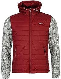 Lee Cooper rembourrée en tricot à capuche pour homme pour homme Bordeaux vestes manteaux Parka