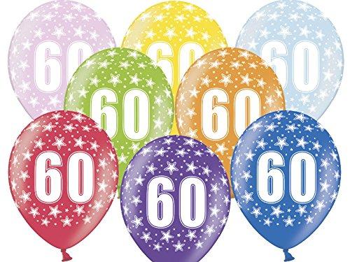 6 Luftballon 30 cm zum 60. Geburtstag - Zufällig gemischt aus 9 Farben - Kleenes Traumhandel®