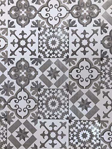 De'Carpet Vinilo PVC A Medida Alfombra FÁCIL Limpieza Antideslizante BALDOSA HIDRÁULICA Gris 65cm...