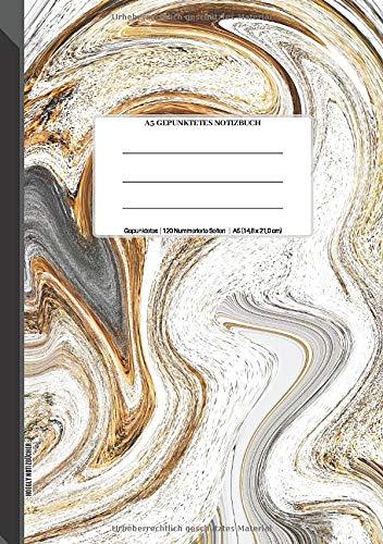 A5 Gepunktetes Notizbuch: Gepunktetes Raster-Notizbuchjournal, 120 Rasterseiten, 14,8 x 21,0 cm (Größe A5), Seiten nummeriert, Kaffee und Milch abstrakt Soft Matte Cover -