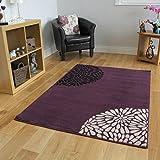 The Rug House Großer, moderner Teppich, Violett/Schwarz / Cremefarben, uni, Shiraz