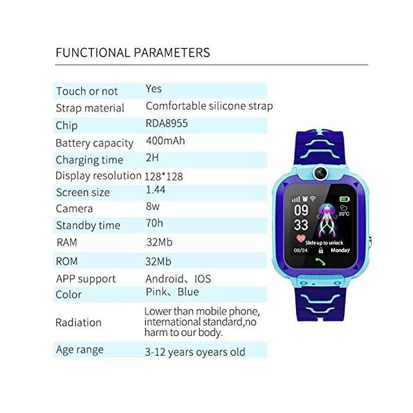 Localizador GPS Niños, Reloj GPS Niños Localizador Con SOS Anti-Lost Alarm Para Tarjeta Pantalla Táctil Smartwatch Para… 3