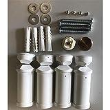 Halterung für Badheizkörper in weiss, geeignet für gerade und gebogene Heizkörper mit Rundrohren