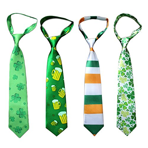4pcs Neuheit Clover Fun Männer Krawatte Krawatten für irische Festival St. Patricks Day Green