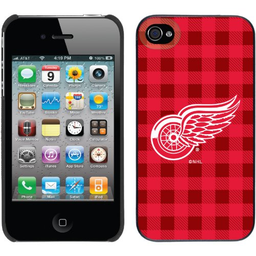 Coveroo iPhone 4/4S negro Thinshield funda con NHL Detroit Red Wings, color diseños