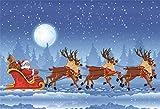YongFoto 1,5x1m Vinyl Foto Hintergrund Weihnachten Weihnachtsmann Rentier Schlitten Geschenke Tasche glänzender Mond, der Winter Weihnachten schneit Fotografie Hintergrund für Fotoshooting Portraitfotos Party Kinder Hochzeit Fotostudio Requisiten