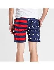PZLL Pantalones cortos de color sólido de los hombres en verano, pantalones casuales, pantalones cortos de playa tamaño secado rápido de los hombres , red , xl