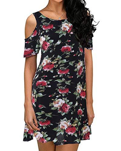 ZANZEA Damen Schulterfrei O- Kragen Kleider Blumen Drucken Freizeitkleid Strandkleid Schwarz Small Blume Kleid Kleider