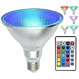 kuniwa PAR38Flutlicht Leuchtmittel RGB Farbwechsel Licht Leuchtmittel mit Fernbedienung, LED Strahler 20W dimmbar Leuchtmittel E27, IP65Wasserdicht Licht Schraube