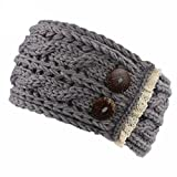 BZLine® Frauen Crochet gestrickt Knöpfe Hut Mütze Stirnband Haarband (Grau)