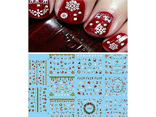 Nagel-Dekoration DIY Nail Art Sticker Weihnachten Schneeflocken Schneemänner 3D Design Maniküre Tipps Decals Wraps Dekoration (bunt) Nagel Kunst