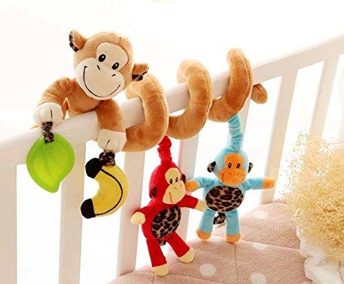 Singring Spirale Aktivität Kinderwagen Baby Plüschtiere Kleinkindspielzeug Spielzeugauto Drehmaschine hängenden Niedlichen kleine Affe Spielzeug - Kinderwagen Und Baby-affe-autositz