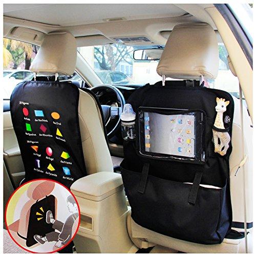 Preisvergleich Produktbild BAYTTER® Rücksitzschoner Rückenlehnenschutz + Rücksitz Organizer mit großer Kapazität, mit durchsichtigem iPad Tablet Fach, für Kinder mit 0-5 Jahren Früherziehung wasserdicht, mit wickelunterlage, mit Geometrie, 60x 45cm, passend für jedes Auto, schwarz