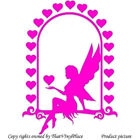 Fata con cuori adesivo da parete 60cm x 43cm colore rosa fata, Sprite, Peri, Fay, Camera da letto, stanza dei bambini Adesivi, vinile auto, Windows e da parete, adesivo da parete Windows Art, decalcomanie, Ornamento vinile