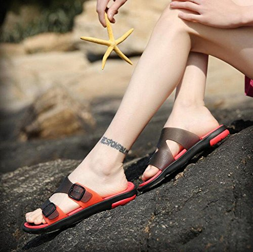 GLTER Herren Open Toe Sandalen Breathable Slippers Casual Beach Schuhe Slip On Flip Flops Red