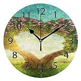 XiangHeFu Horloge Murale Ronde de 25,4 cm de diamètre Silencieux en Forme de cœur en Forme d'arbre sous Le Coucher du Soleil décoratif pour la Maison, Le Bureau, l'école