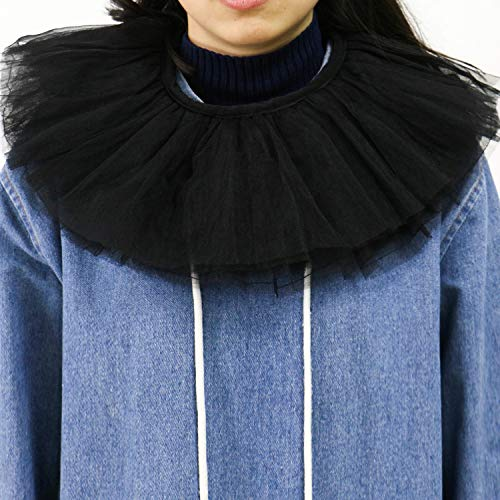 JETEHO Retro-Kragen mit Rüschen und Rüschen aus Netzstoff, Retro-Stil, für Cosplay, Party, - Dickens Stil Kostüm