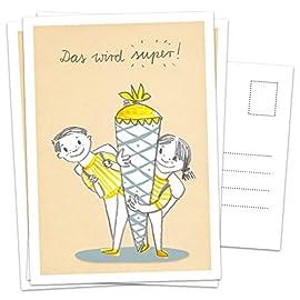 10er-SET-Postkarten-Einladungskarte-zur-Einschulung-Einladung-Einschulungskarte-Schulkind-Schultte-blau-gelb-Mdchen-und-Junge-Retro-Zuckertte