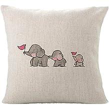 VEHOM Tres pequeños Elefantes-Funda de Almohada Cuadrada 45 * 45(cm)-