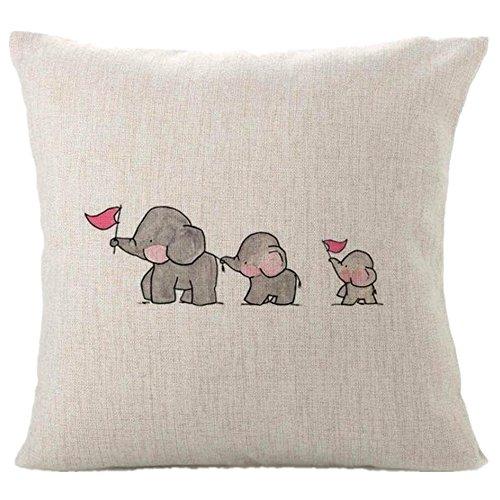 sunnymi Kissenbezüge im Bett Bettwäsche 45X45cm,Drei Baby Elefanten Muster Sofakissen,Für Platz auf dem Sofa Café Bibliothek Buchhandlung Party Club (Grau, Leinen-Mischung)