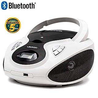 Lauson CD-Player Bluetooth | Tragbares Stereo Radio | USB | CD-MP3 Player für kinder | Stereo Radio | Stereoanlage | Kopfhöreranschluss | AUX IN | LCD-Display | CP640 (Weiß)