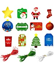 FEPITO 60 Pcs Christmas Gift Tags Christmas Tree Decoration Merry Christmas Gift Hanging Tag with String for Christmas Present Wrap, 12 Design