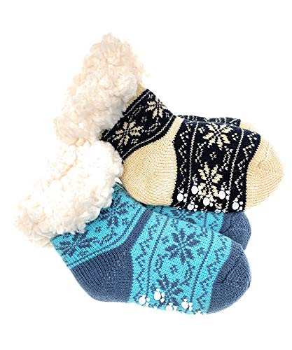 2 Paar Baby Hütten Socken Kinder Home Socks mit Teddyfutter Kuschelsocken Lammfellimitat ABS-Sohle (5551, 0-12 M, Set 3)