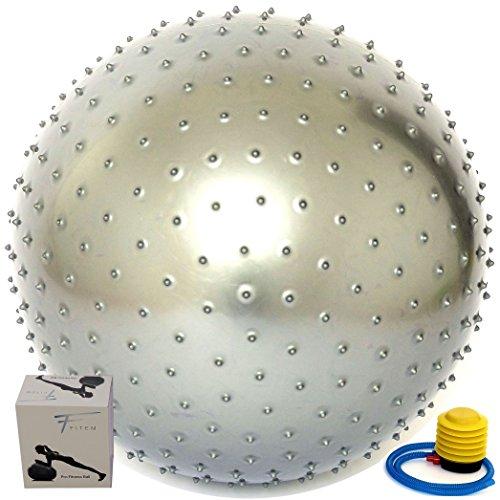 Fitem Gym Ball Gris à Picots Massant - Anti-Eclatement - 75cm - Ballon de Gym - Ballon Grossesse - Ballon Fitness - Ballon pour Pilates, Exercises d'Equilibre, Pilates, Yoga