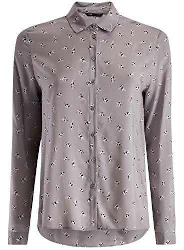 oodji Ultra Damen Viskose-Bluse mit Druck Grau (2312A)