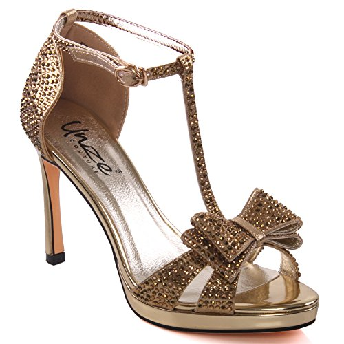 Unze Sandales Bow Accented Stiletto Womens de Felicia Or
