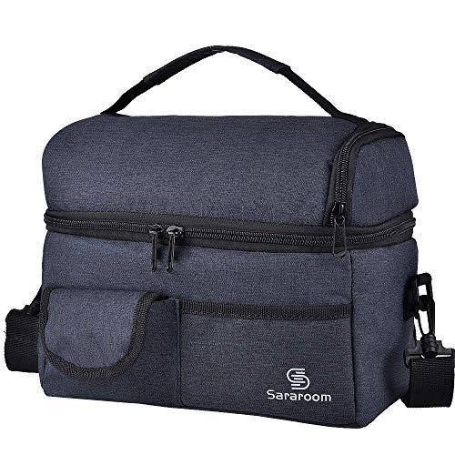 Sararoom borsa termica, borsa termica borsa da picnic piccola borsa da pranzo trasporto cibo per lavoro d'ufficio campeggio esterna da viaggio con tracolla e scomparti multipli 6l