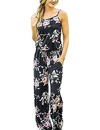 e8d55178b75c3f Yigoo Jumpsuit Damen Sommer Hosenanzug Elegant Overall Festlich Freizeit  Hose Bodysuit Lang – Blumendruck…