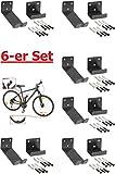 6 Stück----Fahrrad-Wandhalter für Pedaleinhängung mit Laufradstütze und Befestigungsmaterial