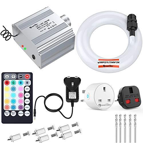 Glasfaser RGBW LED Sternenhimmel Jennyhedy Romantischer Sternenhimmel 10W Twinkle Music Sensing Lichtquelle,Optic Cable[300pcs*0.75mm*2m]Mit Fernbedienung und Smart Plug,Bohrer,Ideal für Auto,Zuhause -