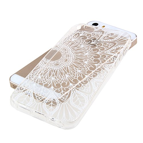 SainCat Coque Housse Apple iPhone 4/4s,Transparent Coque Silicone Etui Housse,iPhone 4/4s Silicone Case Soft Gel Cover Anti-Scratch Transparent Case TPU Cover,Fonction Support Protection Complète Magn fleur #4