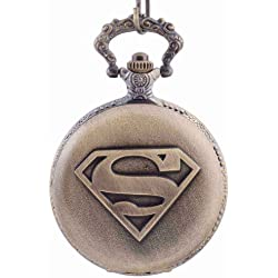 Superman The Man of Steel Superhero Quartz Pocket Watch Chain Value Quality Bronze