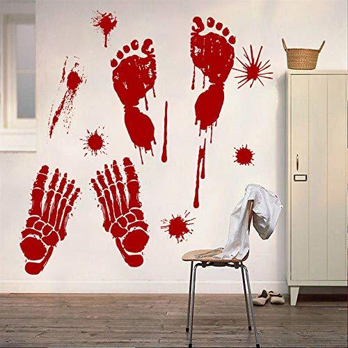 Amphia - Halloween-Aufkleber-Papier gravierte Blut Gedruckte Fußabdruck-dekorative Wandaufkleber.Blutige -