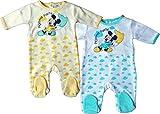 MLS Kids Disney Micky Maus Pyjama/Schlafanzug / Strampler - 2er Pack - Pyjama Party Bundle - Gelb/Weiß/Türkis/Mehrfarbig