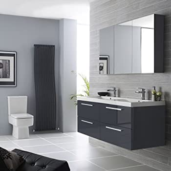 hudson reed quartet 1440mm bathroom vanity unit basin sink and mirror cabinet in high gloss grey finish furniture pack