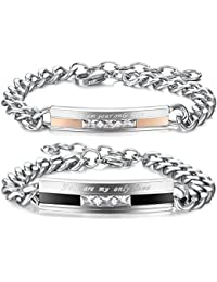 Moneekar Men,Women's 2 PCS Stainless Steel Bracelet Link Wrist CZ Black Silver Rose Gold Tone Curb Chain Couple...