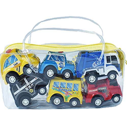 Vkospy 6Pcs / Set Mini-Spielzeug-Autos ziehen Auto-Spielset Cartoon Fahrzeug LKW-Baby-Kleinkind-Kind-Junge-Party-Geburtstags-Weihnachten Spielzeug