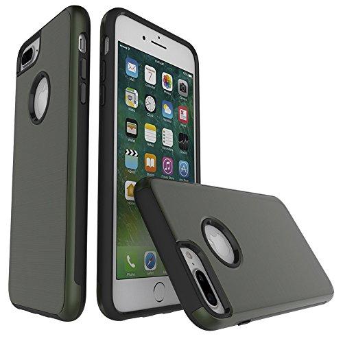 FindaGift iPhone 7 Plus Hülle, Dual-Layer Handycover TPU + PC Etui Hybrid Gebürstete Textur Cover Non Slip Stoßfest Case Schutzhülle Anti-Kratzer Protector für iPhone 7 Plus Armeegrün Armeegrün