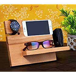 Soporte móvil de madera con organizador de reloj para oficina / hogar para hombres y mujeres - Madera de mango