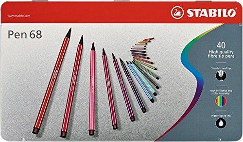 STABILO Pen 68 Pennarelli colori assortiti - Scatola in metallo da 40