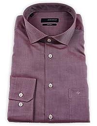Seidensticker Herren Langarm Hemd Splendesto Regular Fit Spread Kent rot strukturiert 110520.44