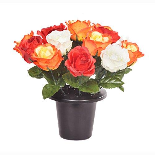 FloristryWarehouse Pot pour tombe lesté de roses artificielles ouvertes Rouge Rose Orange Crème